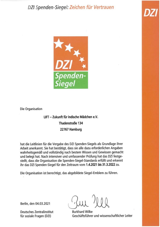 DZI Spenden-Siegel Urkunde